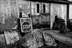 STOP ! restricted area (savillent) Tags: black white old stop dark negative family history tuktoyaktuk northwest territories canada business movie september 2016