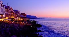 Cefalu at night (Sampo Pekkalin) Tags: italia italy sicilia sisilia sicily landscape seascape sunset cefalu sea restaurant people rock night seaside shore sky outdoor