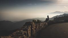 (picazam) Tags: rimoftheworld smoke mountain landscape alone girl sitting watching breathtakingview view afternoon suset silhouette top hill bir azam picazam fuji x100t jui