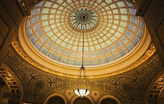 Chandilier (Anthonypresley1) Tags: chicago illinois building buildings architecture dome city glass interior window light gold blue anthonypresley anthony presley