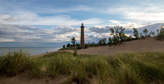 Early morning at Little Sable..... (Kevin Povenz) Tags: 2016 july kevinpovenz westmichigan michigan lighthouse littlesablelighthouse littlesable lakemichigan sand beach dunes dune water sunrise morning canon7dmarkii clouds grass blue green
