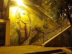 the world in your hands (Roxy Starfruit) Tags: graffiti street art yellow girl poem boat stairway scala ragazza strada poesia giallo arte night notte settembre september eye occhio deep profondo depth profondit wolrd mondo mani mano hand hands globe sea mare