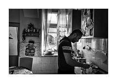 Baby food (Jan Dobrovsky) Tags: bw contrast countrylife countryside document grain indoor krasnalipa leicaq portrait roma rural village gypsies