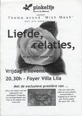 2001 Pinkeltje MishMash in Villa Lila (www.lesbischarchief.nl) Tags: dito affiche lhbt pinkeltjehomojongeren rozegeschiedenis villalila nijmegen poster 2001 coc