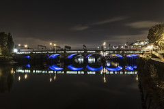 Caledonian Railway Bridge (Christophe Pfeilstcker) Tags: europe uk scotland glasgow urban cityscape city architecture bridge night sky nightscape xris74 pixpassion fuji xt1 le reflection reflections river clyde