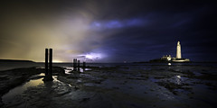 Knock on Wood (*K*aren) Tags: lightning thunder whitleybay posts lighthouse