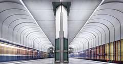 Colored XV (bildgestalterphotography) Tags: colored metro metrostation monochrome longtimeexposure symmetrie munich mnchen urban urbex city blue red