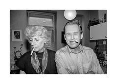 Vaclav Havel -  eightieth birthday anniversary (Jan Dobrovsky) Tags: 24mm analog bw birthday cigarette film havel indoor monochrome olga orwo pentaxmesuper people portrait vaclav