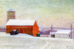 End of Winter (DaraDPhotography) Tags: winter snow nature field barn rural silo ie textured magicunicornverybest lenabemannatextures wwwdaradphotographycom pixeldustphotoart pdpalavenderdream pdpaglorybe backgroundmoon