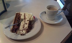 Black Forest cake in Donaueschingen - the source of the Danube in the Black Forest (Roadgoer) Tags: cake germany europe rail journey blackforest kirsche donaueschingen schwarzwaldtorte