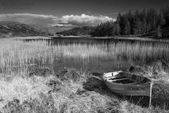 Loch Dubhaird Mor - Scottish Highlands (Michael~Ashley) Tags: light white black contrast reeds landscape mono scotland boat highlands scenic scottish loch clinker assynt dubhaird