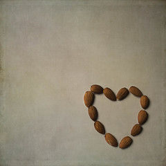 Healthy Heart 099-365-2013 (~Helen Cat) Tags: square healthy heart nuts textures negativespace almonds april day99 odc htt 2013 365project 099365 texturetuesday 09apr13 kimklassen day99365 3652013 365the2013edition 0993652013