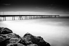 Pacifica Pier (Ron Rothbart) Tags: ocean california longexposure blackandwhite bw water monochrome pier rocks pacificocean nd pacifica neutraldensityfilter 10stopfilter