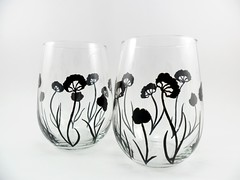 Stemless Wine Glasses Black Flower Contemporary Design Hand Painted Set of 2 (Painting by Elaine) Tags: flowers wedding black glass glasses wine contemporary painted handpainted wineglasses glassware paintedglass handpaintedglass stemlesswineglass setof2 stemlesswineglasses paintedwineglass paintingbyelaine