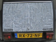 Decorated rear side (ClassicsOnTheStreet) Tags: club 1987 citroën 2cv6 rx72nf