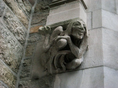 Gargoyle 8539 (Brechtbug) Tags: park street new york city nyc building art face birds monster stone architecture laughing fur mask dwarf manhattan lexington painted magic side decoration feathers feather like lord east gargoyle uptown rings tiles clay type gollum avenue creature decor golem between glazed 66th 2013