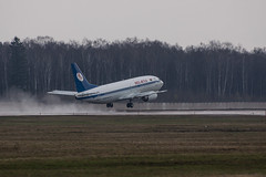 Belavia 737 (n_dunaev) Tags: rain weather clouds plane airplane shower flying spring airport moscow aircraft flight landing airline boeing belarus airlines takeoff spotting dme 737 planespotting domodedovo belavia