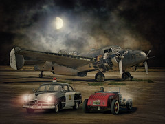 The Moon Comes Callin' A Ghostly White .... (Rat Rod Studios) Tags: moon airplanes policecar hotrod ratrod warplanes militaryplanes