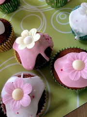 Eighty five. Pretty fairy cakes (sarahjanequinn) Tags: pink flowers party cakes cupcakes iphone project365 uploaded:by=flickrmobile flickriosapp:filter=nofilter