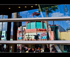 Reflecting Hollywood (DugJax) Tags: reflection planethollywood waltdisneyworld sunsetboulevard ef1740mmf4lusm disneyshollywoodstudios canonrebelt2i