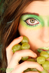 Grapes. (Beth Mulvey) Tags: portrait green beauty fruit studio eyes makeup grapes cosmetics tuttifrutti complimentary cristinaotero