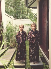 Princess Girls (Hueystar) Tags: new smart mobile wales standing children bay phone south byron robes iphone balinese 5s