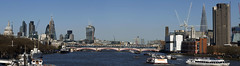 Macro Panoramic from Waterloo Bridge London (Dick Bulch) Tags: waterloo canarywharf riverthames cityoflondon sigma105mmmacro shardofglass londonpanoramicviews