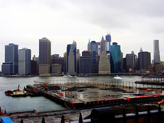 New York (View of Lower Manhattan Skyline & East River,from Brooklyn Heights Promenade) (Netty 78) Tags: usa newyork wet rain weather skyline america cityscape skyscrapers brooklynheightspromenade financialdistrict eastriver lowermanhattan 2012