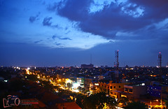Surabaya in blue hour (Praminto Nugroho) Tags: city blue sky night lights cityscape bluehour surabaya