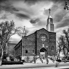 201301440 (garydrakephotos) Tags: street trees windows blackandwhite church clouds streetlamps steps crosses alberta hedge lethbridge steple southernalberta