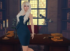 The Secretary (Charisma Jonesford) Tags: sl secondlife exile ikon belleza thelibrary adorkable redgrave crackedmirror slink fameshed
