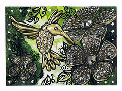 The Hummingbird ATC (piechot) Tags: bird atc hummingbird handmade craft artisttradingcards card