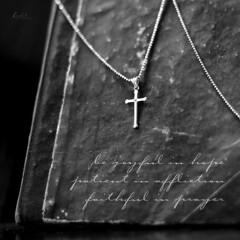 284/81 Romans 12:12 (Lirynx) Tags: canon notebook necklace cross bible ef50mmf18ii pendant verse eos60d