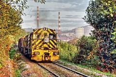 Otoo en el Valle. (Trenero EFC) Tags: autumn espaa train tren la spain industrial d central railway asturias otoo coal ge serie freight cuesta ferrocarril termica arcelor carbonero mercancias aceralia aboo