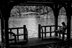Lakeside Summer (CVerwaal) Tags: nyc blackandwhite usa ny newyork centralpark gazebo bowbridge thelake sonyrx100iii rusticshelters