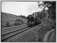 """LNER A3 Class 4-6-2 No 60103 Flying Scotsman in charge of """"The Waverly"""" on the return leg at How Mill on the Newcastle to Carlisle Line (penlea1954) Tags: lner a3 class 462 no 60103 flying scotsman the waverley how mill newcastle carlisle line uk steam railway england outdoor railroad vehicle ner cumberland northumberland borders trains train transport rail locomotive locomotives loco engine pacific sir nigel gresley white bw brampton black"""