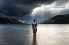 Mirror man (blue fin art- 2 Million Views. Thank You!) Tags: still robmulholland mirrorman lochearn hdr photomatix scotland scottish landscape statue