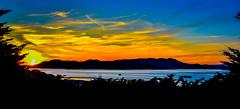 San Francisco Bay at Sunset - San Francisco CA (mbell1975) Tags: sanfrancisco california unitedstates us san francisco bay sunset ca yellow orange cal calif water sf cove ocean vista pano panorama panoramic marinheadlands marin headlands hills range