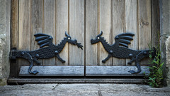 Here Be Dragons (real ramona) Tags: door hinges timber gothic dragon iron portal gate