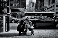 Don't let her fool you... (DHaug) Tags: street streetphotography toronto financialdistrict elderly progress rushhour juxtaposition blackandwhite noiretblanc fujifilm xpro2 xf16mmf14rwr