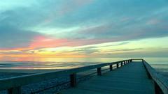 Serene (KerKaya) Tags: blue green pier panasonic seascape sunset sky clouds normandy nature fz200 france light landscape leica lumix lowtide kerkaya beach beauty beautiful reflections transparency evening