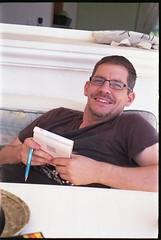 Spain 2016 - Kodak Retina Ib (Type 018 Chrome Dot) - My brother Stuart (TempusVolat) Tags: gareth wonfor tempusvolat garethwonfor tempus volat mrmorodo spain holiday vacance 2016 kodak retina ib vintagecamera film 35mm scan scanned scanning scanner epson perfection v200 brother stuart smile glasses man lad
