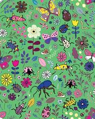 Butterflies, beetles & blooms - mint & pink (Cecca W) Tags: pattern patterndesign spoonflower floral beetles
