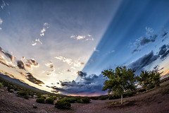 Cloud Shadow (inlightful) Tags: cloudshadow crepuscularrays rays shadows sky clouds sunset trees dirt rural southwest nature newmexico socorrocounty