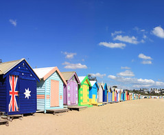 Brighton Beach Bathing Boxes (yangliu6) Tags: brightonbeach melbourne australia victoria boxes huts bathingboxes beachhuts beach sand sky blue scenic flag australian downunder colourful vibrant multicolored