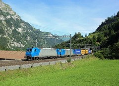 185 536 & 185 527, Blausee, 3 Aug 2016 (Mr Joseph Bloggs) Tags: bahn railway railroad train treno freight cargo merci switzerland ltschberg bls blausee kandergrund frutigen rotterdam milan milano crossrail traxx 185 intermodal container 536 527 185527 185536