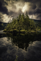 Dark Reflection (Raw Perfection Photography) Tags: buntzen lake refelction trees clouds