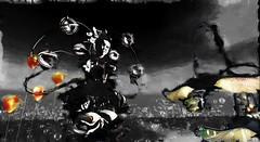Inner child (Bamboo Barnes - Artist.Com) Tags: innerchild secondlife surreal metabody fantasy dark weird strange vivid shadow light photo painting virtualart digitalart black yellow red bamboobarnes monochrome flower balloon avatar