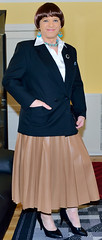Birgit022936 (Birgit Bach) Tags: pleatedskirt faltenrock fauxleather kunstleder blouse bluse satin blazer