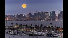 San Diego Downtown Moonrise (binzhongli) Tags: moonrise sandiego sandiegodowntown moon fullmoon shelterisland pointloma canon nature timelapse